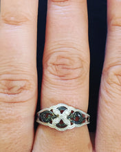 Load image into Gallery viewer, Sterling Silver Black & White Diamond Flower Ring