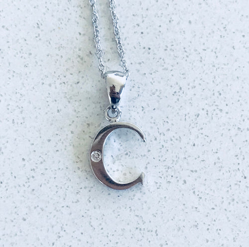 Initial Letter C White Gold & Diamond pendant