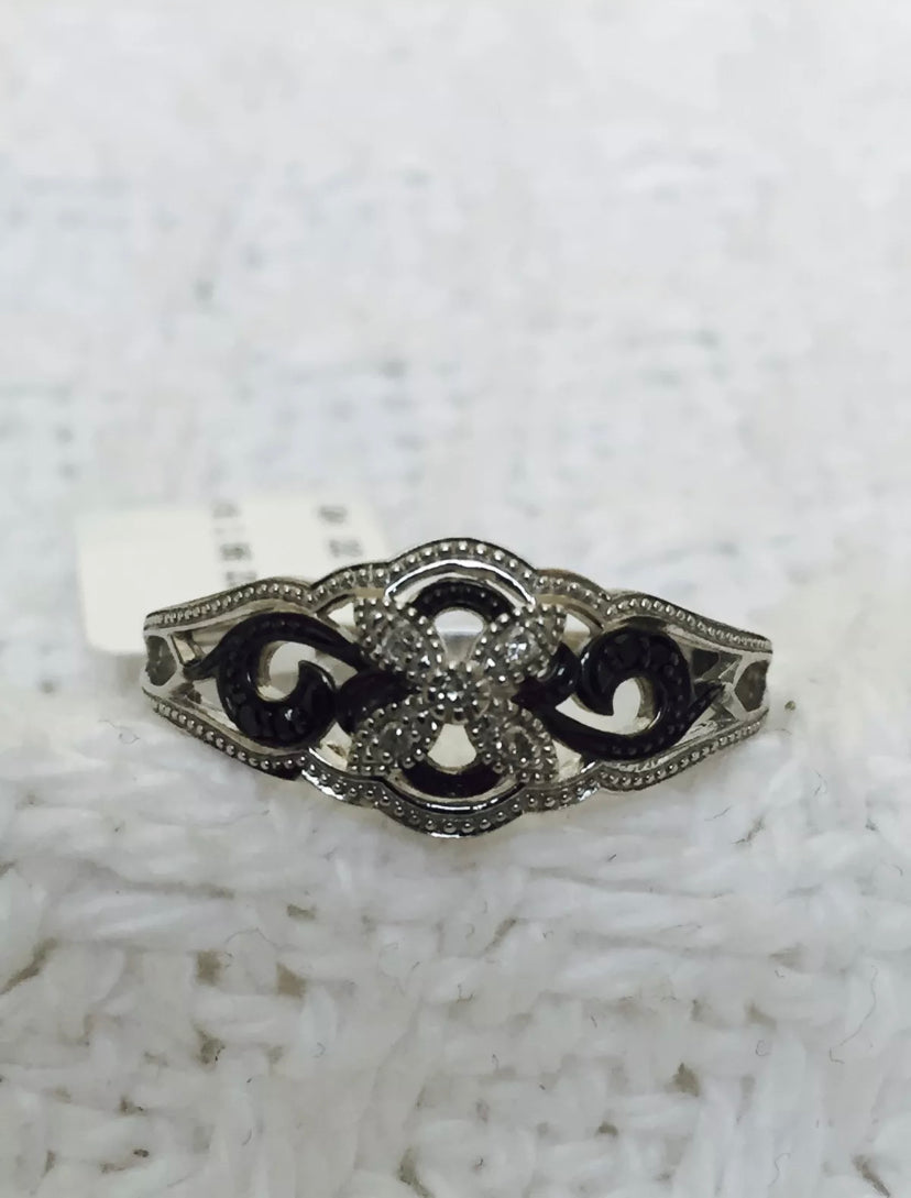 Sterling Silver Black & White Diamond Flower Ring