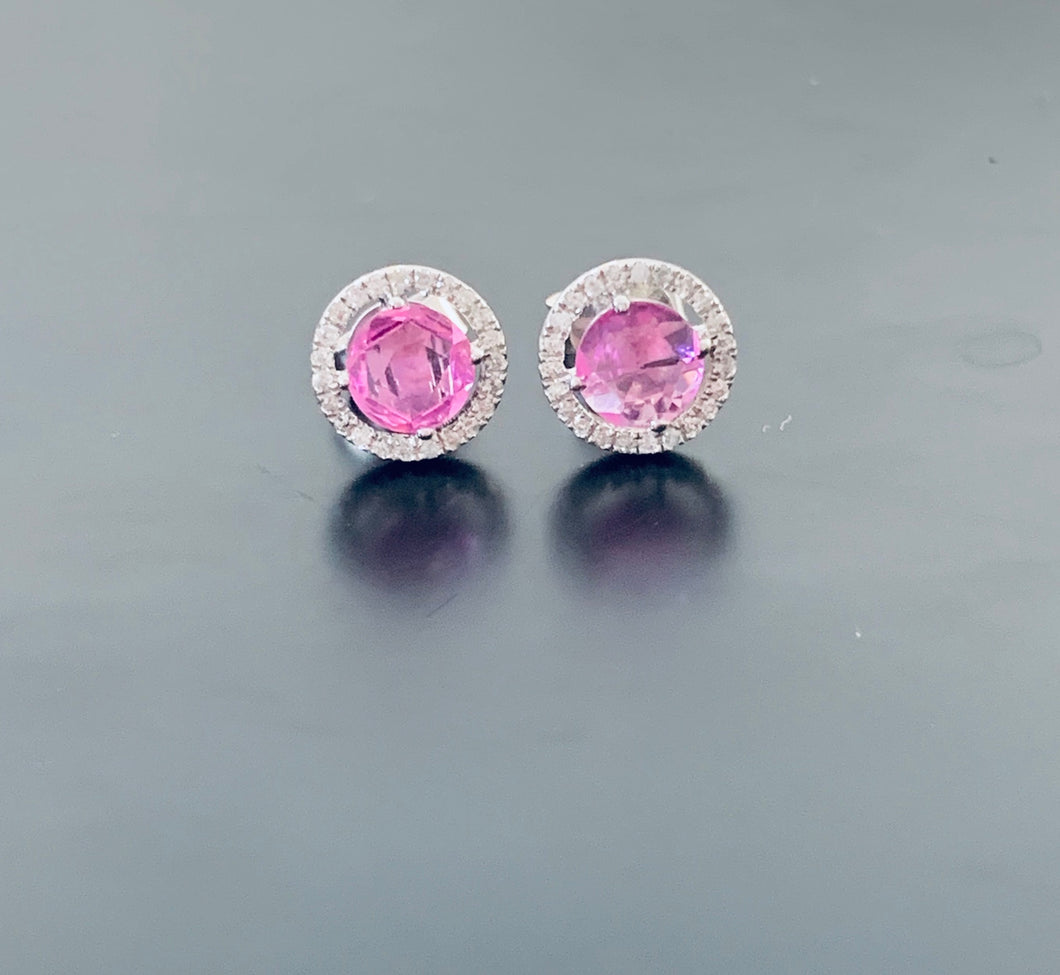 Pink Sapphire and diamond halo white gold earrings
