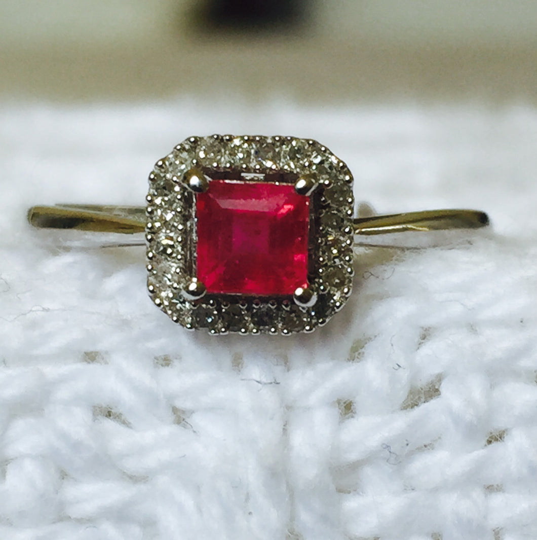 Genuine Ruby & Diamond Sterling Silver Ring