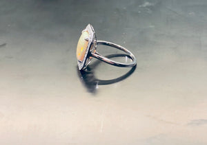 Large 2.87CT Opal and diamond Ring