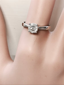 Cluster Diamond new with tags white gold ring