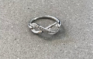 Sterling Silver Half Diamond Band Infinity Ring