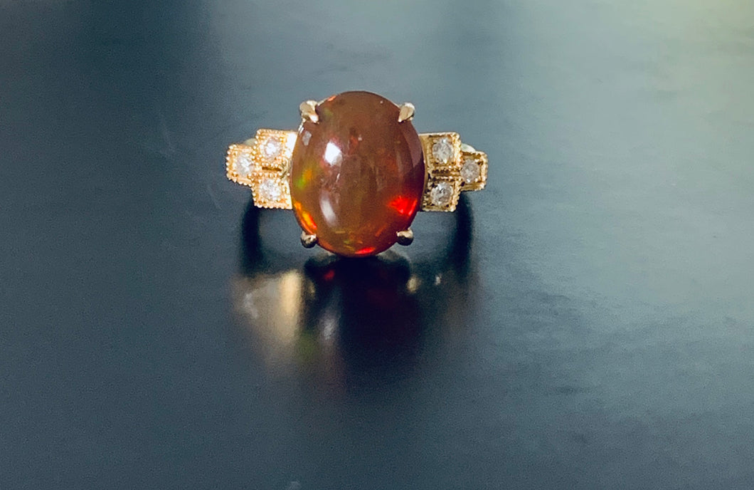 Solid Opal & Diamond 18K Gold Ring