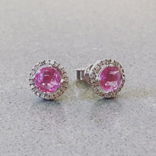 Load image into Gallery viewer, Pink Sapphire and diamond halo white gold earrings