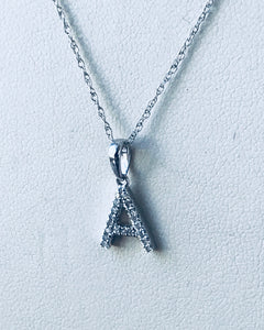 Initial letter Diamond A Necklace Pendant White Gold
