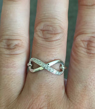 Load image into Gallery viewer, Sterling Silver Half Diamond Band Infinity Ring