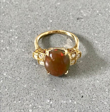Load image into Gallery viewer, Solid Opal & Diamond 18K Gold Ring