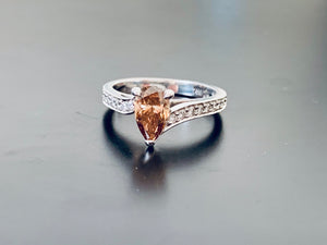 Fancy Pear Cut Champagne Diamond & White diamond Engagement Ring