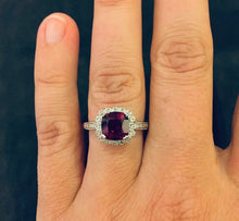 Load image into Gallery viewer, Created Ruby & Natural Diamond Sterling Silver Ring