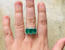Load image into Gallery viewer, Women's Three Stone Emerald & Diamonds gold ring