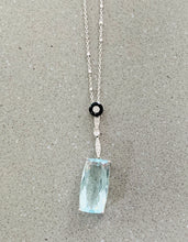 Load image into Gallery viewer, Women's new genuine aquamarine and diamond pendant necklace white gold val $7820