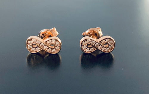 Women's rose gold infinity diamond stud earrings