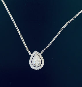 Women's pear cut diamond halo necklace white gold