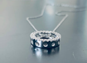 Women's natural diamond circle necklace pendant