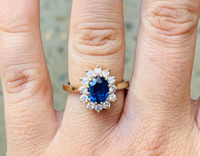Load image into Gallery viewer, Women's sapphire and diamond flower gold ring