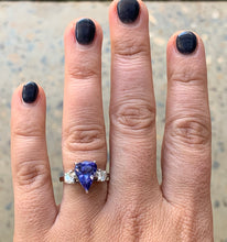 Load image into Gallery viewer, Women's pear cut New Tanzanite & Diamond White Gold Ring