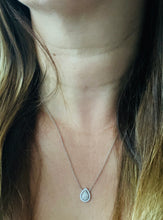 Load image into Gallery viewer, Women's pear cut diamond halo necklace white gold
