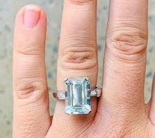 Load image into Gallery viewer, Women's large aquamarine and diamond white gold ring