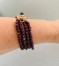 Load image into Gallery viewer, Three stranded Beaded Garnet and yellow gold Bracelet