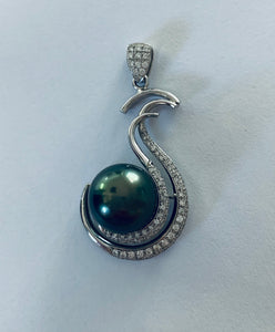 Tahitian Pearl and Diamond Pendant Necklace