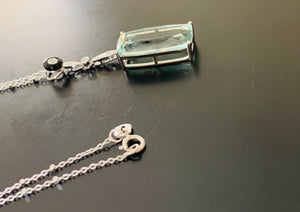 Women's new genuine aquamarine and diamond pendant necklace white gold val $7820