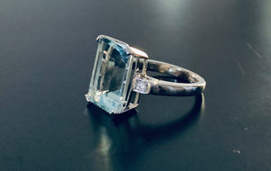 Women's large aquamarine and diamond white gold ring