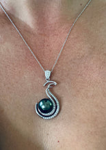 Load image into Gallery viewer, Tahitian Pearl and Diamond Pendant Necklace