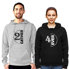 2Gether  4Ever - Couple Hoodie Grey/Black