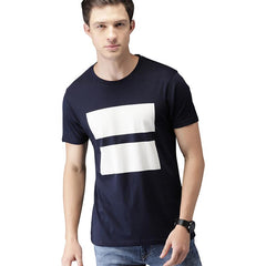 #103-Men Navy Printed Round Neck T-Shirt