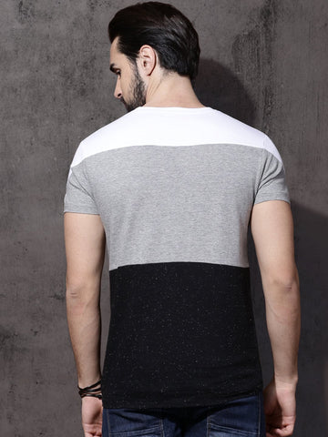 Men Grey Melange Colour Blocked Round Neck T-shirt