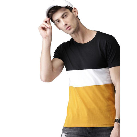#102-Men Black & Mustard Yellow Colourblocked Round Neck T-shirt