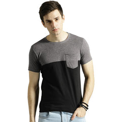 Men Black & Charcoal Grey slim fit Blocked Round Neck T-shirt