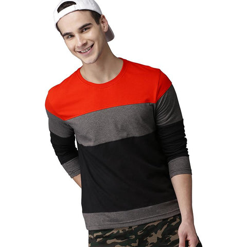 #105-Mens Black & Orange Colour Blocked Round Neck T-shirt