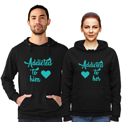 Adicted to him&her - Couple Hoodie Black