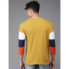 Image of Men Mustard Yellow & Navy Blocked Round Neck T-shirt