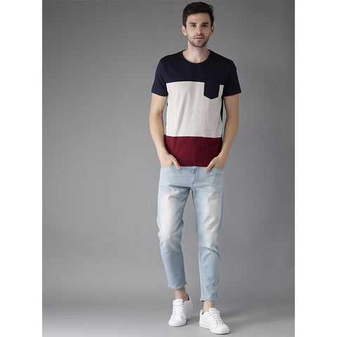 Men Grey Melange & Navy Colour Blocked Round Neck T-shirt