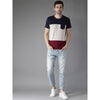 Image of Men Grey Melange & Navy Colour Blocked Round Neck T-shirt
