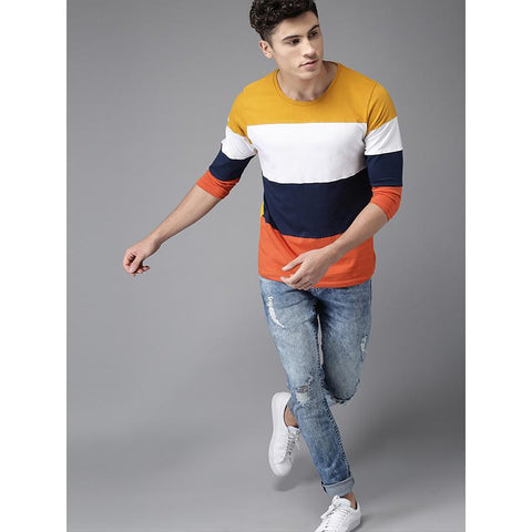 Men Mustard Yellow & Navy Blocked Round Neck T-shirt