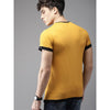 Image of Men Mustard Yellow Solid Round Neck T-shirt