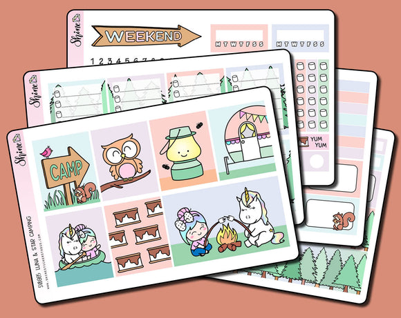Luna & Star Camping Vertical Weekly Sticker Kit