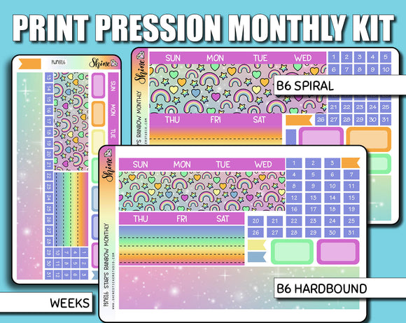 Undated Star's Rainbow Monthly Kit - Print Pression