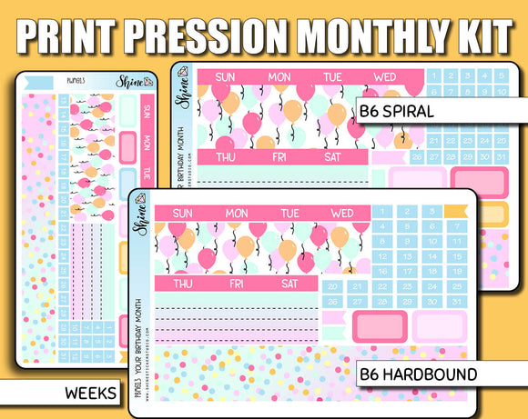 Undated Luna Birthday Monthly Kit - Print Pression