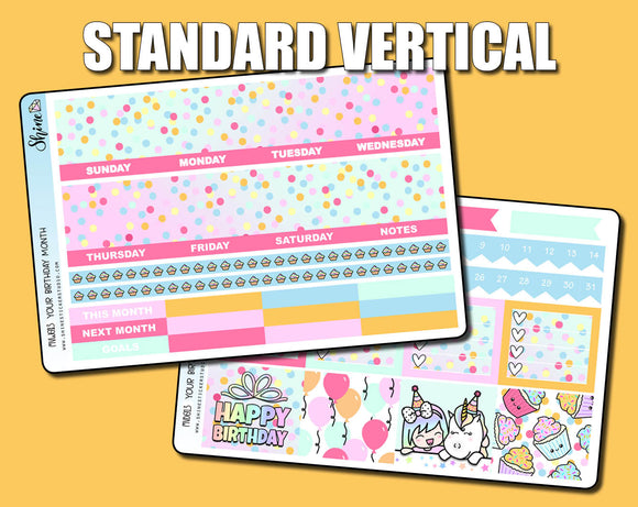 Undated Birthday Monthly Kit - Standard Vertical
