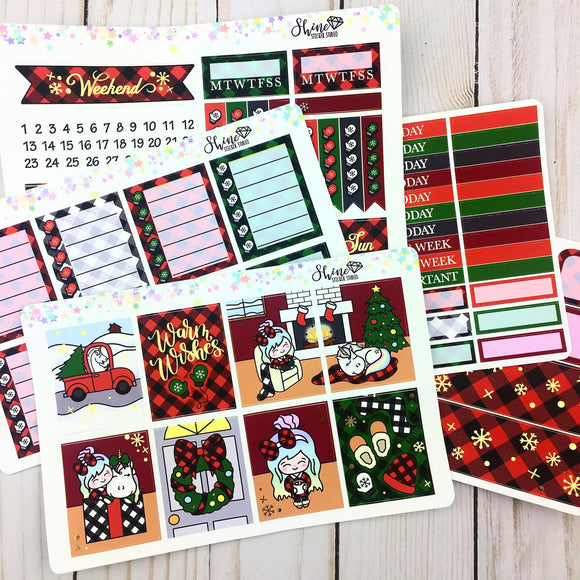 FOIL Luna & Star Cozy Christmas - EC Weekly Sticker Kit