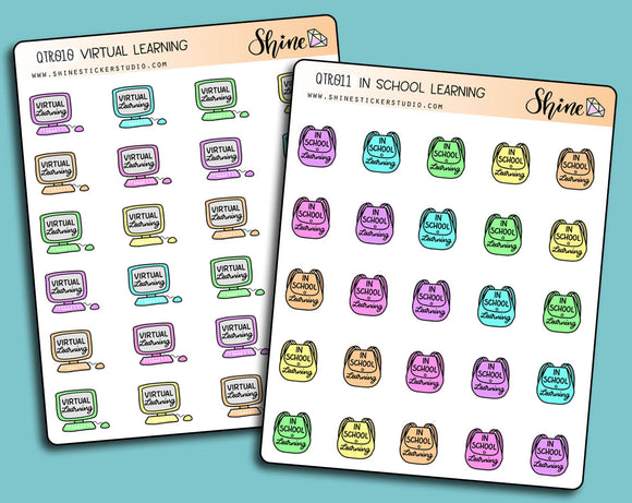 In School Learning and Virtual Learning Stickers