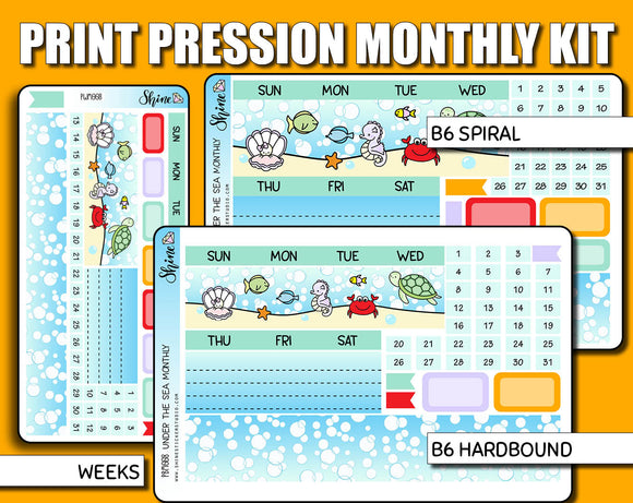 Undated Under the Sea Monthly Kit - Print Pression