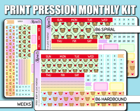 Undated Beary in Love Monthly Kit - Print Pression