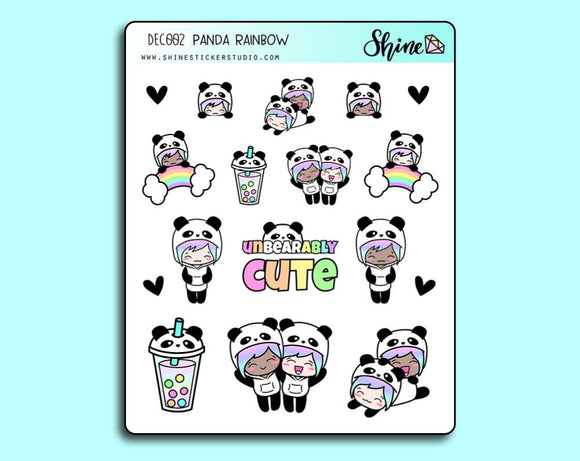 Luna Panda Rainbow Stickers